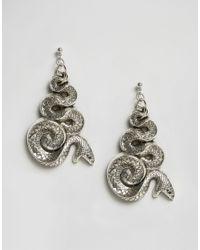 Regal Rose - Metallic Malice Huge Snake Earrings - Silver - Lyst