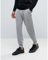 ASOS   Gray Knitted Textured Joggers In Soft Yarn for Men   Lyst