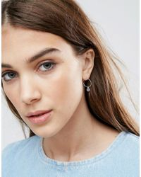 ASOS - Metallic Sterling Silver Lucky 7 Hoop Earrings - Lyst