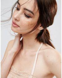 ASOS - Metallic Gold Plated Sterling Silver Flower Earrings - Lyst