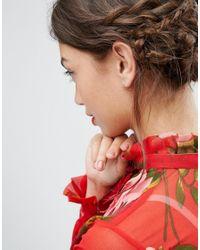 ASOS | Metallic Rose Gold Sterling Silver Heart Hoop Earrings | Lyst