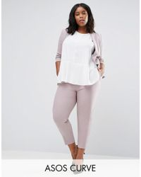 ASOS | Pink Ankle Grazer Cigarette Trouser In Crepe | Lyst