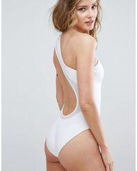 ASOS | White One Shoulder Scuba Swimsuit With Mesh Insert | Lyst