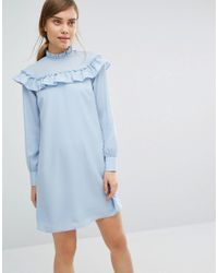 Vero Moda - Blue High Neck Ruffle Mini Dress - Lyst