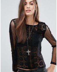 New Look | Metallic Rosary Cross Pendant Necklace | Lyst