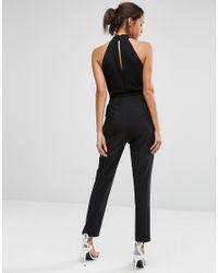 TFNC London - Black High Neck Plunge Jumpsuit With Embellished Trim - Lyst
