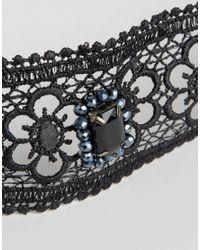ASOS - Black Wide Jewel Fabric Choker Necklace - Lyst