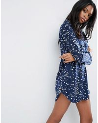 ASOS | Blue Star Print Satin Nightshirt | Lyst