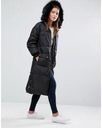 New Look - Black Faux Fur Padded Maxi Coat - Lyst