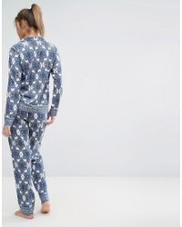 ASOS - Blue Tile Print Long Sleeve Shirt & Trouser Pyjama Set - Lyst