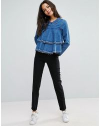 ASOS - Blue Denim Distressed Tiered Top - Lyst