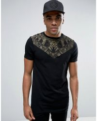ASOS   Black Longline Muscle T-shirt With Triangle Yoke And Snake Print for Men   Lyst