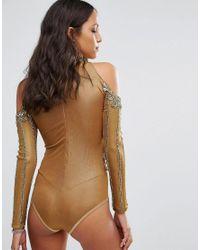 A Star Is Born - Metallic Cold Shoulder Embellished Bodysuit - Lyst