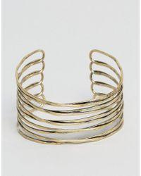ASOS | Metallic Caged Bracelet Cuff In Worn Gold | Lyst