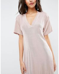 ASOS | Pink Slinky T-shirt Dress | Lyst