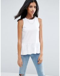 ASOS | White Top With Dip Hem Ruffle In Texture | Lyst