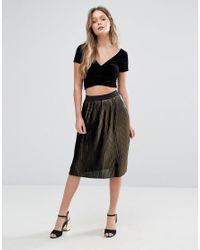 Vero Moda | Black Metallic Pleated Midi Skirt | Lyst
