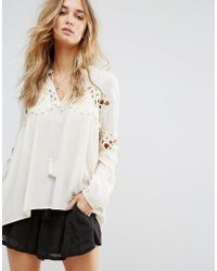 Billabong   Natural Relaxed Smock Top With Lace Inserts   Lyst