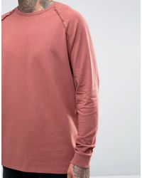 ASOS - Red Oversized Long Sleeve Raglan With Reverse Seams for Men - Lyst