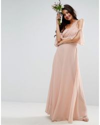 ASOS | Pink Wedding One Shoulder Maxi Dress | Lyst
