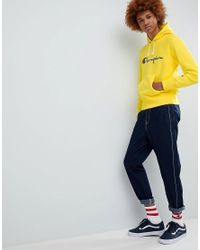 Champion Reverse Weave Hoodie With Large Logo In Yellow for men