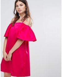 Warehouse - Pink Bardot Mini Dress - Lyst