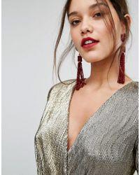 ALDO - Beaded Tassel Statement Earrings In Red - Lyst