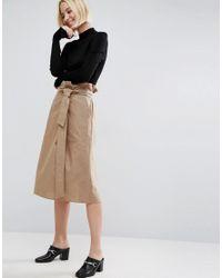 ASOS | Natural Midi Skirt With Belt Detail | Lyst