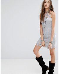 Free People | Gray She's Got It Slip Dress | Lyst