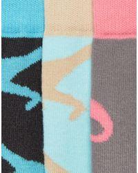 ASOS - Blue Socks With Pastel Dinosaur Design 3 Pack for Men - Lyst
