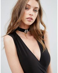 Missguided - Black Jewelled Choker Necklace - Lyst