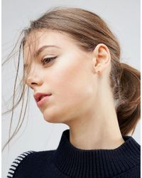 ASOS | Metallic Gold Plated Sterling Silver Cube Stud Earrings | Lyst
