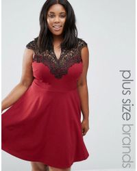 AX Paris | Red Plus Skater Dress With Lace Top | Lyst