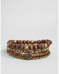 Icon Brand   Beaded Bracelet Pack In Brown for Men   Lyst