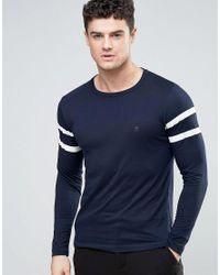 French Connection   Blue Long Sleeve Two Stripe Baseball T-shirt for Men   Lyst