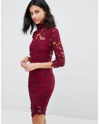 Club L   Black High Neck Crochet Lace Detail Pencil Dress   Lyst