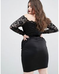 Boohoo - Black Lace Bodycon Dress - Lyst