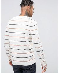 ASOS - Multicolor Cable Knit Jumper With Stripes for Men - Lyst