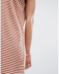 RVCA - Orange Relaxed Romper Playsuit In Fine Stripe - Lyst