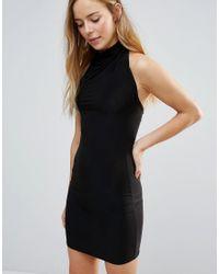 Daisy Street | Black High Neck Bodycon Dress | Lyst