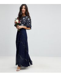 ad7c0729d10aa Women's Blue Asos Design Petite Embellished Floral Flutter Sleeve Maxi Dress
