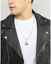 ASOS - Metallic Necklace With Stone And Feather for Men - Lyst