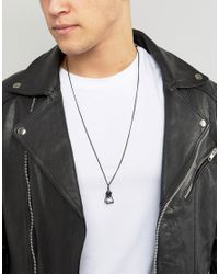 ASOS - Necklace In Matte Black With Stone for Men - Lyst