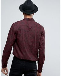 ASOS - Black Tall Regular Fit Viscose Shirt With Paisley Print for Men - Lyst