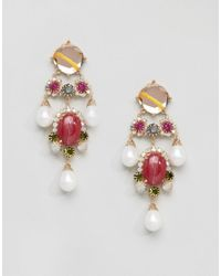 ASOS - Metallic Statement Gemstone Drop Earrings - Lyst