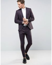 SELECTED | Red Super Skinny Suit Jacket In Check for Men | Lyst
