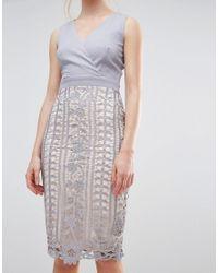 Little Mistress - Gray Crochet Lace Wrap Front Midi Bodycon Dress - Lyst