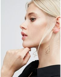 ASOS | Metallic Triangle Interlocking Strand Earrings | Lyst