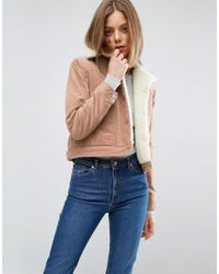 ASOS - Crop Velveteen Jacket In Pale Pink With Borg Collar - Lyst