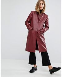 First & I - Purple Faux Leather Trench Coat - Lyst